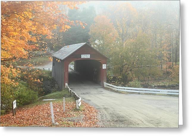 Green River Covered Bridge Guilford Vermont Autumn Fog Greeting Card by John Burk