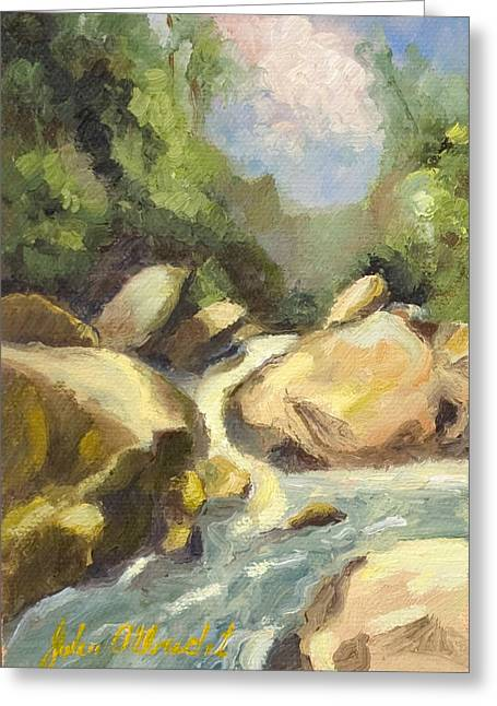 River Paintings Greeting Cards - Green River Falls Greeting Card by John Albrecht