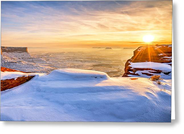 Overlook Greeting Cards - Green River Snow Greeting Card by Chad Dutson