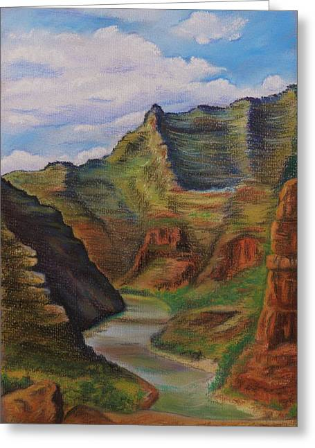 Canoe Pastels Greeting Cards - Green river Utah Greeting Card by Lucy Deane
