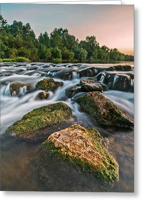 Rapids Greeting Cards - Green rocks Greeting Card by Davorin Mance