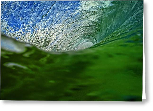 Shorebreak Greeting Cards - Green Room Wave Greeting Card by Brad Scott