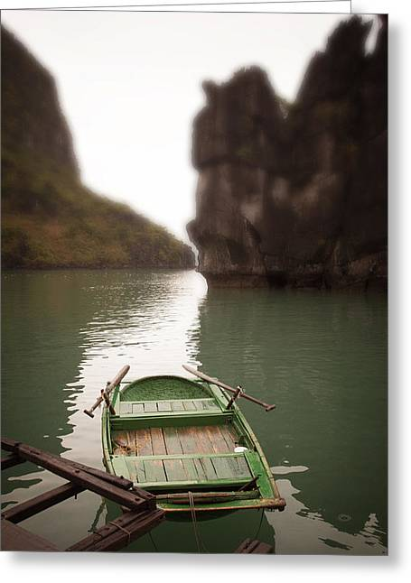 Row Boat Photographs Greeting Cards - Green row boat Greeting Card by John Wong