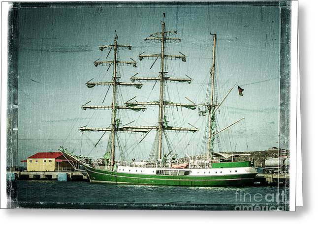 Pirate Ship Digital Greeting Cards - Green Sail Greeting Card by Perry Webster