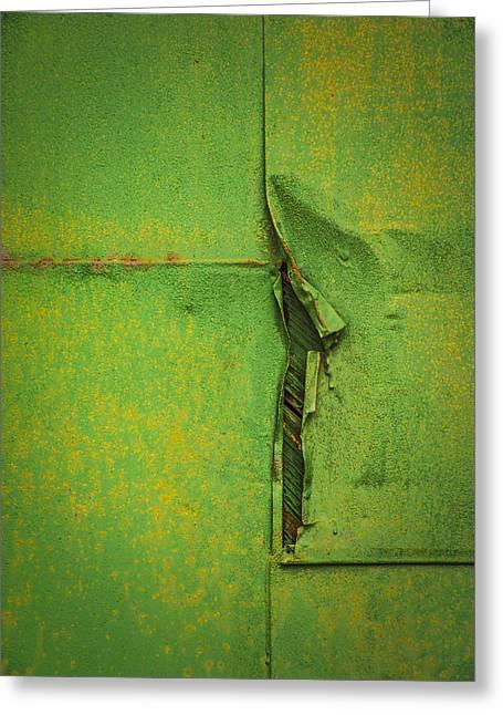 Gash Greeting Cards - Green Scar Greeting Card by Jon Stephenson