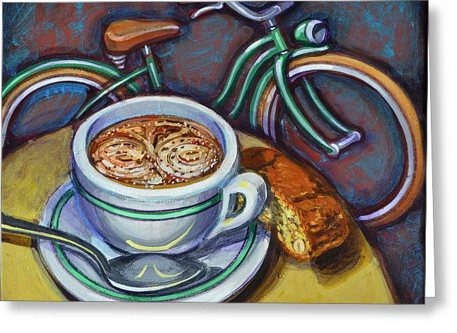 Recently Sold -  - Mark Howard Jones Greeting Cards - Green Schwinn bicycle with cappuccino and biscotti. Greeting Card by Mark Howard Jones