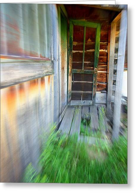 Screen Doors Greeting Cards - Green Screen Door Greeting Card by Mary Willrodt