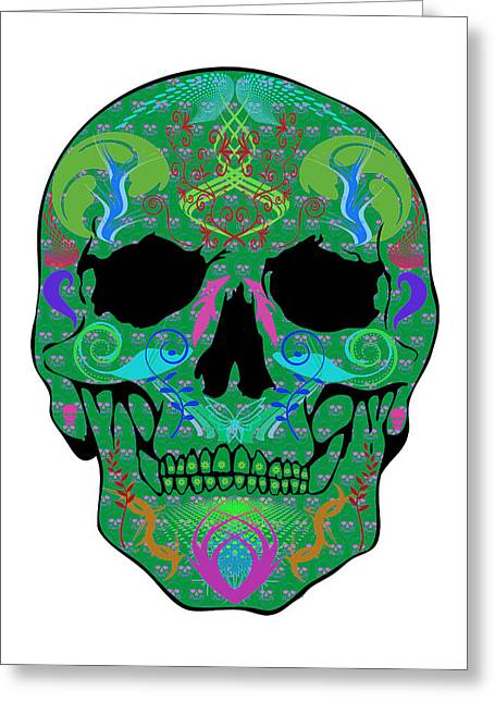 Scull Greeting Cards Greeting Cards - Green Skull Greeting Card by Mauro Celotti