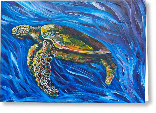 Ocean Art. Beach Decor Greeting Cards - Green Sea Turtle Greeting Card by Lovejoy Creations