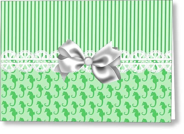 Seahorse Digital Art Greeting Cards - Green Seahorses Greeting Card by DMiller