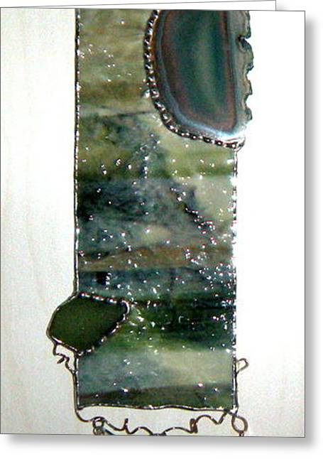 Sea Shell Glass Greeting Cards - Green Seas Greeting Card by Nora Solomon