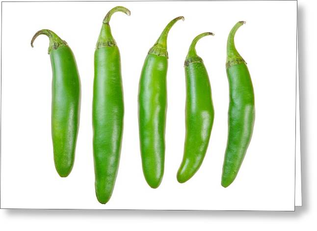 Ingredients Greeting Cards - Green Serrano Peppers Greeting Card by Jim Hughes