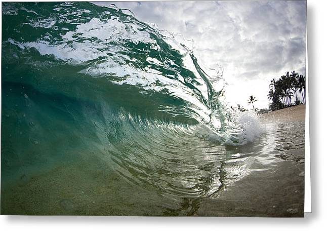 Surf Art Greeting Cards - Green Shimmer Greeting Card by Sean Davey