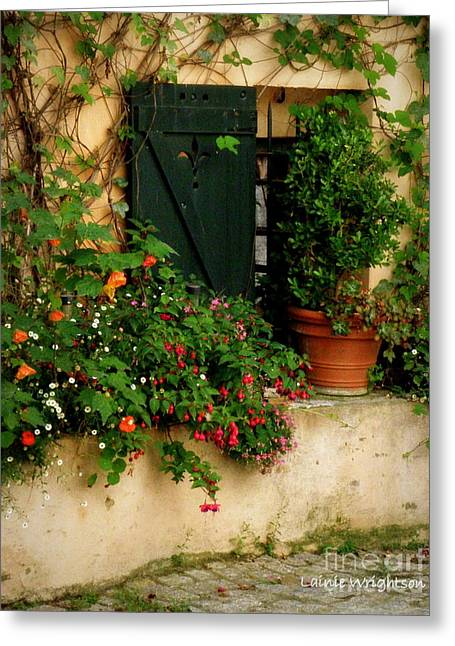 Saint-tropez Greeting Cards - Green Shuttered Window Greeting Card by Lainie Wrightson