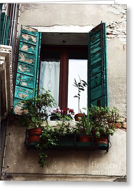 Photo Art Gallery Greeting Cards - Green Shutters in Venice Greeting Card by John Rizzuto