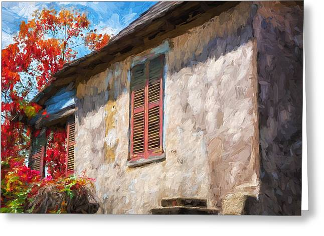 Historic Home Greeting Cards - Green Shutters Pink Stucco Wall St Augustine Painted Greeting Card by Rich Franco