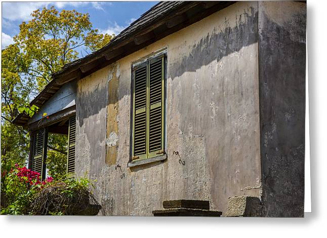 Historic Home Greeting Cards - Green Shutters Stucco Walls St Augustine Greeting Card by Rich Franco
