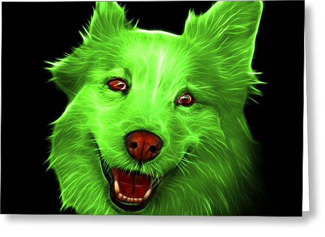 Mixed Labrador Retriever Greeting Cards - Green Siberian Husky Mix Dog Pop Art - 5060 BB Greeting Card by James Ahn