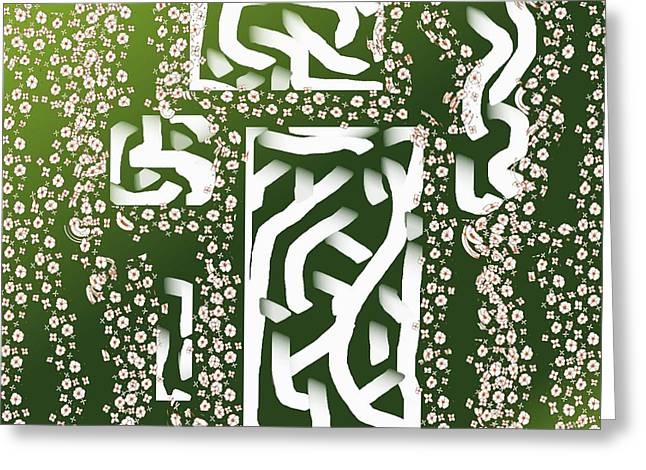 Gift Tapestries - Textiles Greeting Cards - Green Simplicity Greeting Card by Claire Masters