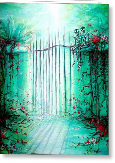 Portal Paintings Greeting Cards - Green Skeleton Gate Greeting Card by Heather Calderon