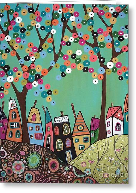 Folk Art Landscapes Greeting Cards - Green Sky Greeting Card by Karla Gerard