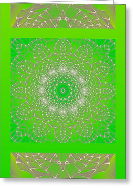 Office Space Greeting Cards - Green Space Flower Greeting Card by Hanza Turgul