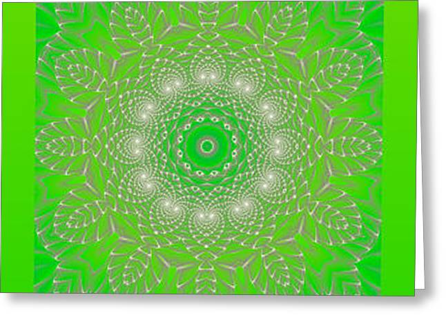 Green Space Flower Greeting Card by Hanza Turgul