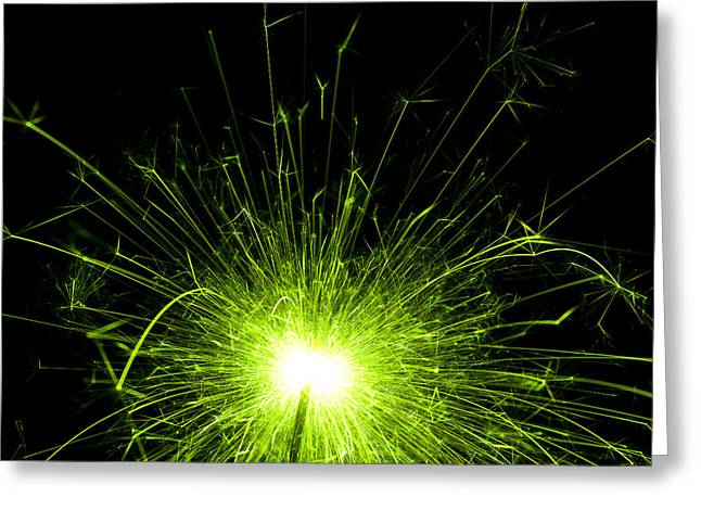 Abstract Shapes Greeting Cards - Green Sparkle Greeting Card by Samuel Whitton