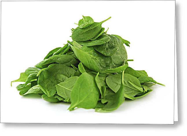 Drop Greeting Cards - Green spinach Greeting Card by Elena Elisseeva