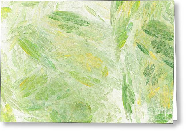 Green And Yellow Abstract Greeting Cards - Green Splash Abstract Greeting Card by Andee Design