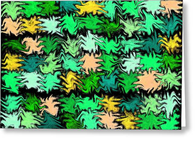 Unique Quilts Greeting Cards - Green Squiggle Quilt Abstract Greeting Card by Karen Adams
