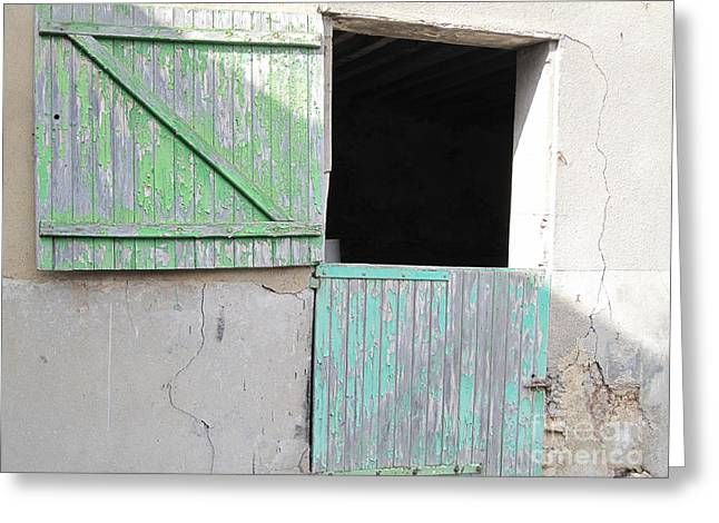 Bluish Green Greeting Cards - Green Stable Door Greeting Card by HEVi FineArt