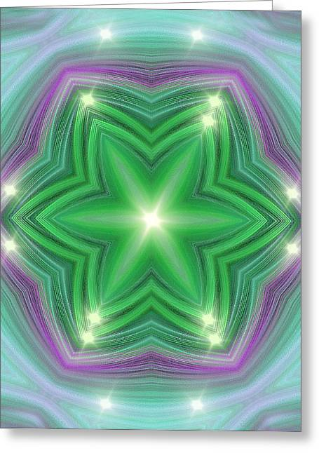 Twinkle Greeting Cards - Green Star Light Greeting Card by Linda Phelps
