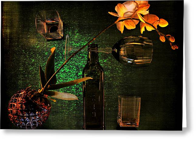 Glass Bottle Greeting Cards - Green still life with orchid Greeting Card by Andrei SKY