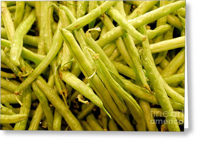 Green Beans Greeting Cards - Green String Beans Greeting Card by Staci Bigelow