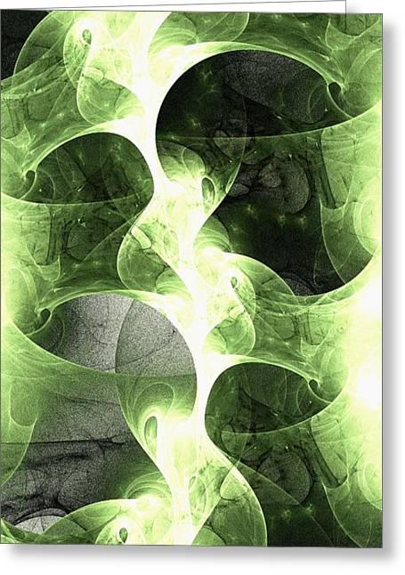 Burst Mixed Media Greeting Cards - Green Surge Greeting Card by Anastasiya Malakhova
