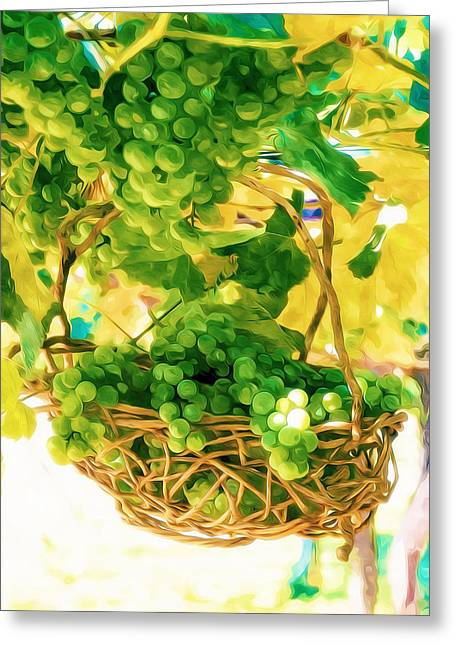 Viticulture Paintings Greeting Cards - Green sweet grapes Greeting Card by Lanjee Chee