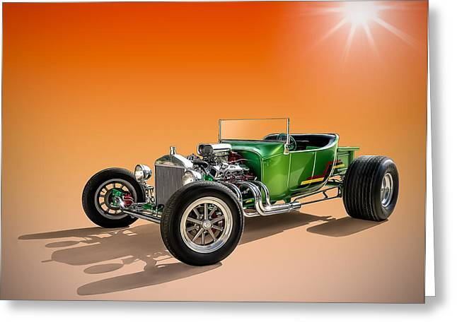 Auto Greeting Cards - Green T With an Orange Twist Greeting Card by Douglas Pittman