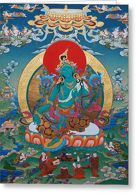 Tibetan Buddhism Greeting Cards - Green Tara Greeting Card by Binod Art School