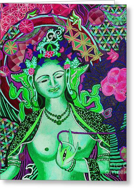 Liberation Mixed Media Greeting Cards - Green Tara Flower of Life Greeting Card by Kevin J Cooper Artwork