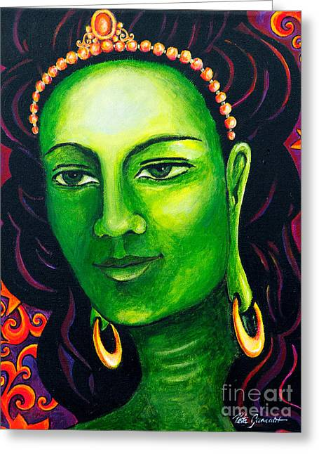 Spiritual Greeting Cards - Green Tara the Swift One Greeting Card by Peta Garnaut