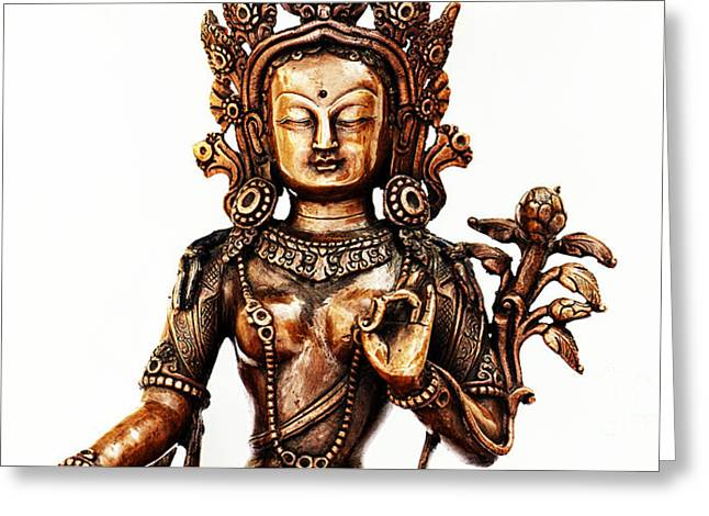 Green Tara Greeting Card by Tim Gainey