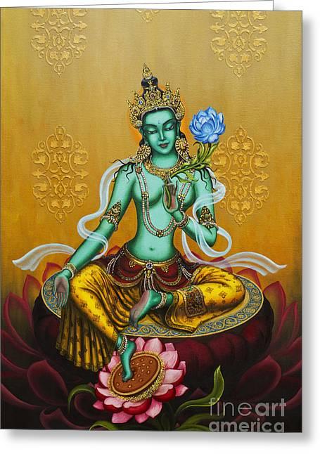 Tibetan Buddhism Greeting Cards - Green Tara Greeting Card by Yuliya Glavnaya