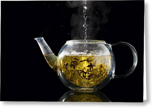 Loose Greeting Cards - Green tea Greeting Card by Alexey Stiop