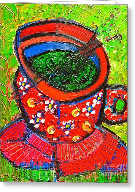 Dots And Lines Paintings Greeting Cards - Green Tea In Red Cup Greeting Card by Ana Maria Edulescu