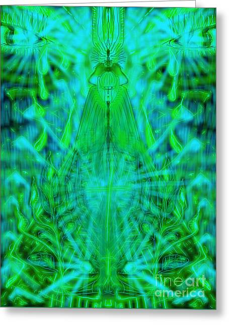 Tears Greeting Cards - Green Tears Greeting Card by Michael African Visions