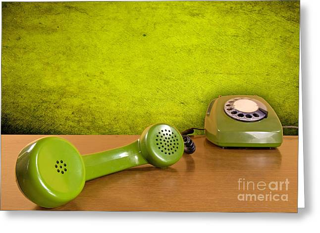 Dialing Greeting Cards - Green Telephone On The Wooden Table Greeting Card by G J