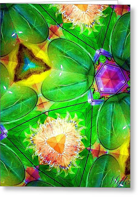 Green And Yellow Abstract Greeting Cards - Green Thing Abstract Greeting Card by Saundra Myles