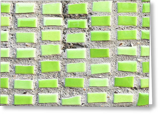 Tiled Greeting Cards - Green tiles Greeting Card by Tom Gowanlock