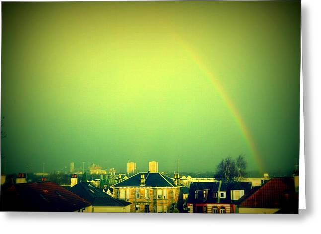 Rooftops Greeting Cards - Green Tinted Sky With Rainbow Greeting Card by Mlle Marquee